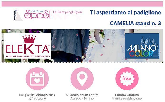 Mialno Sposi - La fiera degli sposi e Milano Color ti aspetta al padiglione CAMELIA stand n. 3 con Elekta! dal 9 al 12 Febbraio 2017 (47° edizione) al mediolanum forum di assago-Milano entrata gratuita
