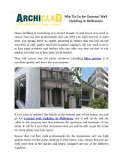 Why To Go for External Wall Cladding in Melbourne.pdf