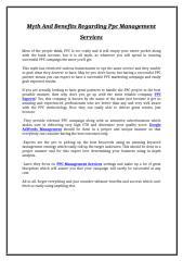 Myth And Benefits Regarding PPC Management Services.doc
