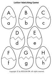 الحروف الانجليزية على شكل بيضة للتلوين للأطفال Eggmatch