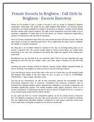 Female Escorts In Brighton - Call Girls In Brighton - Escorts Directory.doc